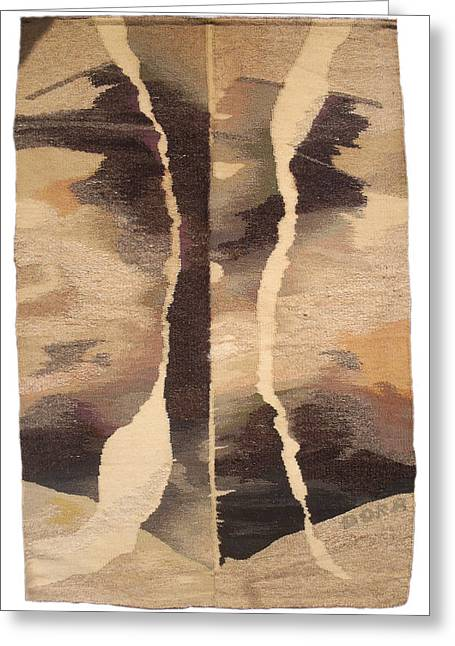 Wool Tapestries - Textiles Greeting Cards - Ancient Landscape Greeting Card by Dora Stoilova Zlatan Stoilov