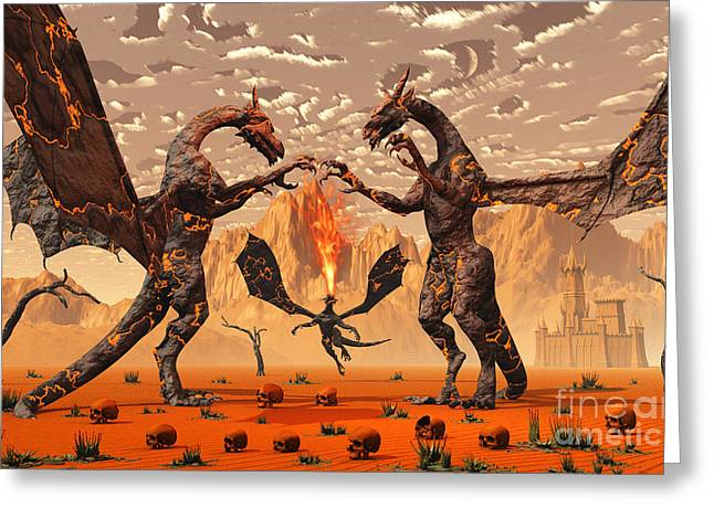 Problems Digital Greeting Cards - Ancient Lava Dragons Born Of Fire Greeting Card by Mark Stevenson