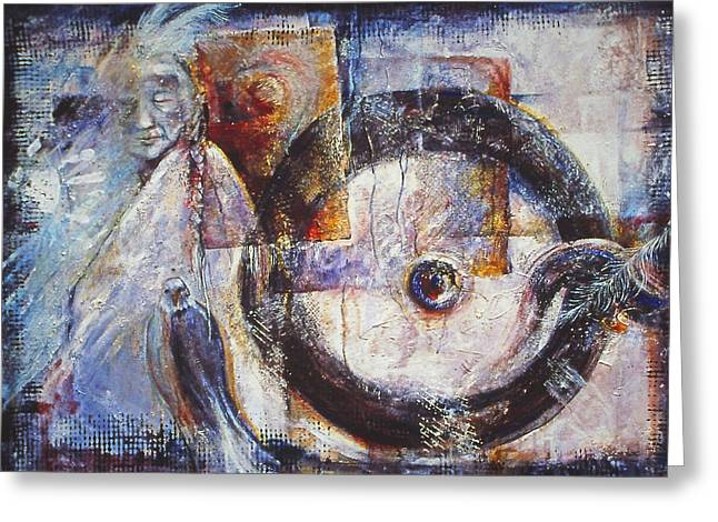 Bagua Mixed Media Greeting Cards - Ancient Messages  no.154 Greeting Card by Catherine Foster