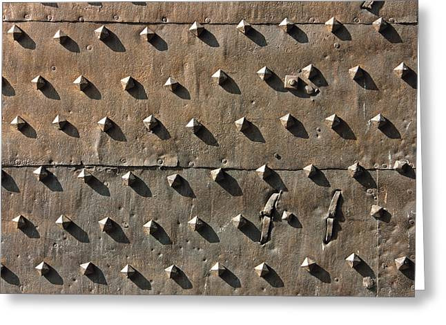Metallic Sheets Greeting Cards - Ancient metal fortification gates Greeting Card by Kiril Stanchev