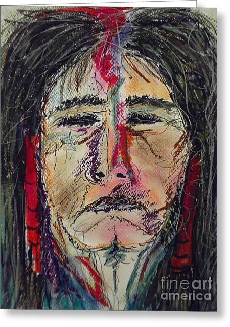 Native American Spirit Portrait Greeting Cards - Ancient One Greeting Card by Nashoba Szabol