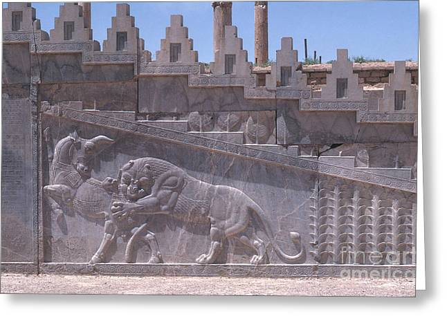 Ancient Persian Art Greeting Cards - Ancient Persepolis Ruins Greeting Card by Photo Researchers, Inc.