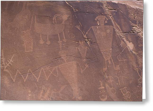 Ancient Indian Art Greeting Cards - Ancient Petroglyphs Decorate A Wall Greeting Card by Taylor S. Kennedy