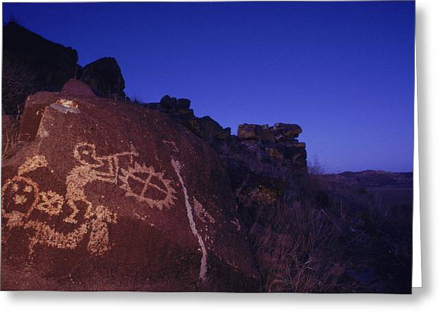 Pre Columbian Architecture And Art Greeting Cards - Ancient Rock Art Showing Kokopelli Greeting Card by Ira Block