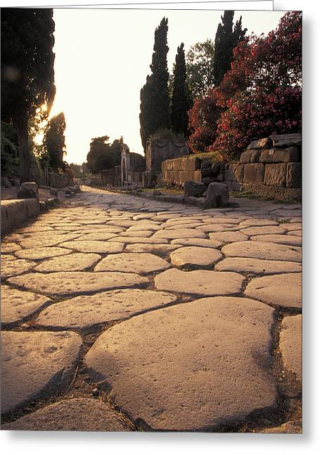 Roman Streets Greeting Cards - Ancient Roman Street Via Delle Tombe Greeting Card by Richard Nowitz