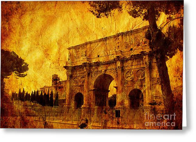 Civilization Mixed Media Greeting Cards - Ancient Rome Greeting Card by Stefano Senise