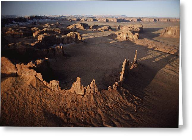 Geological Formations Greeting Cards - Ancient Sandstone Spires Rise Greeting Card by Paul Chesley