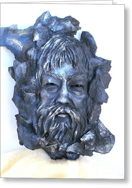 Wall Sculpture Sculptures Sculptures Greeting Cards - Ancient Secret Greeting Card by Wayne Niemi