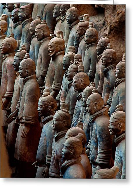 Terra Cotta Sculpture Greeting Cards - Ancient Soldier Statues Stand At Front Greeting Card by O. Louis Mazzatenta