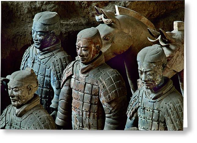 Ancient People Greeting Cards - Ancient Terracotta Soldiers Lead Horses Greeting Card by O. Louis Mazzatenta