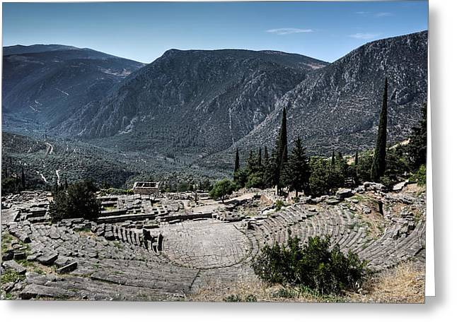 Medieval Temple Greeting Cards - Ancient Theatre - Delphi Greeting Card by Constantinos Iliopoulos