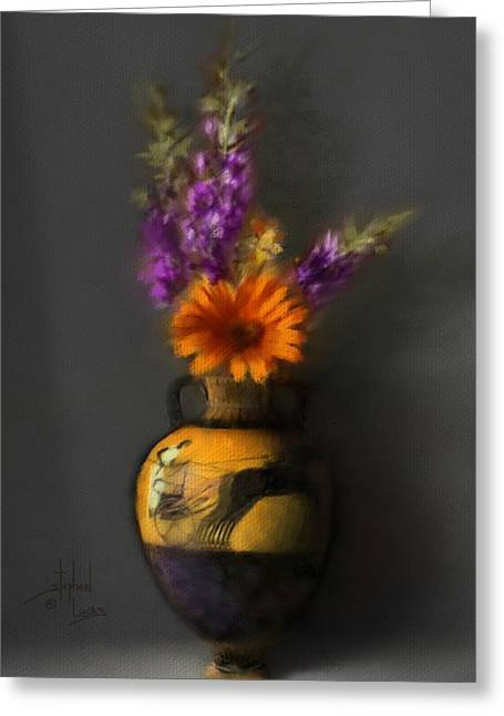 Roman Vase Greeting Cards - Ancient Vase and Flowers Greeting Card by Stephen Lucas
