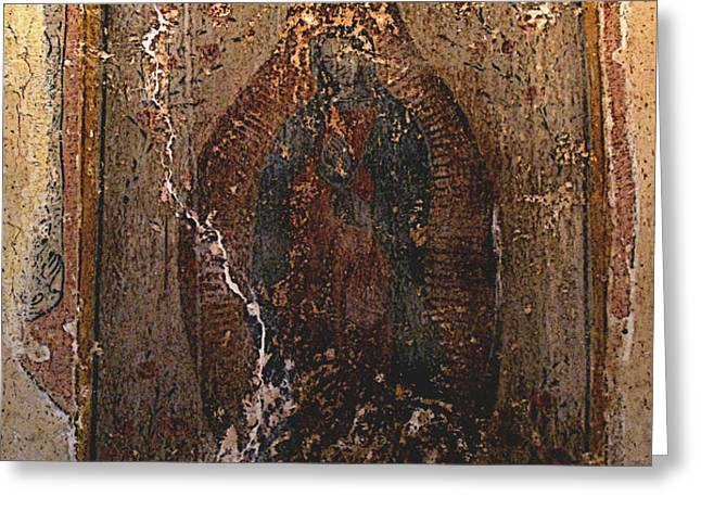 Ancient Virgin of Guadalupe - Ex-Convento Yuriria Greeting Card by Olden Mexico