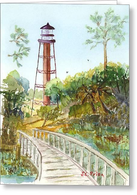 Florida Bridge Paintings Greeting Cards - Anclote Key Lighthouse Greeting Card by JC Prida