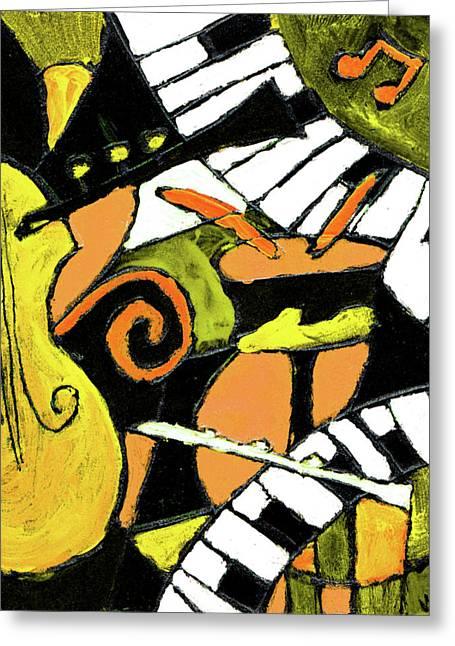 And All That Jazz Orange Greeting Card by Wayne Potrafka