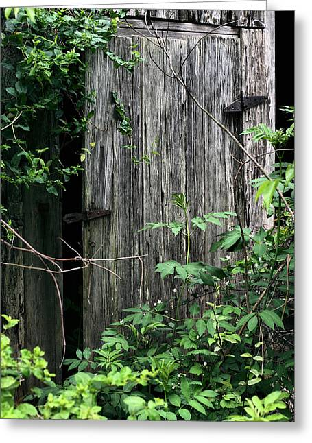 Haunted Barn Greeting Cards - And Behind Door Number Two Greeting Card by JC Findley