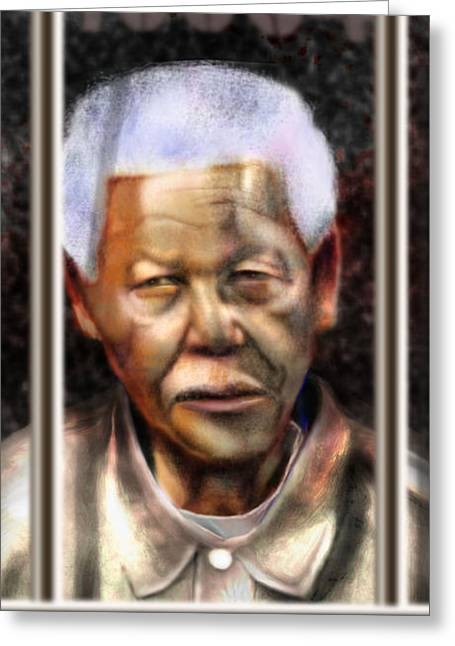 Civil Rights Leader Greeting Cards - And God Remembered Prisoner 46664 Greeting Card by Reggie Duffie