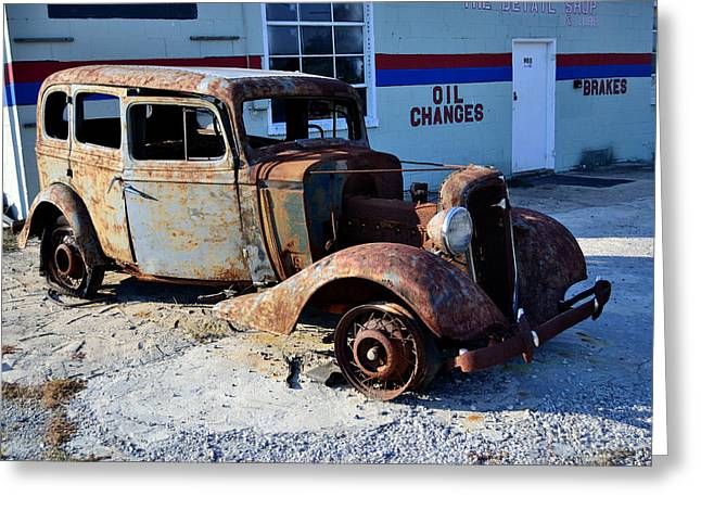 Rusted Cars Greeting Cards - ...and Rotate The Tires Greeting Card by Larry Bishop