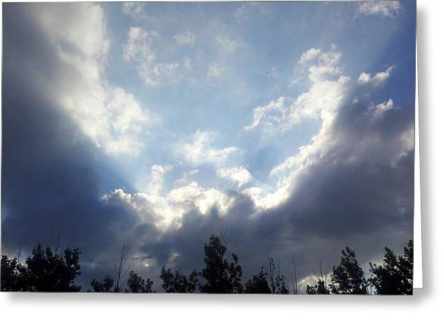 And The Clouds Opened Up Greeting Card by Christy Patino