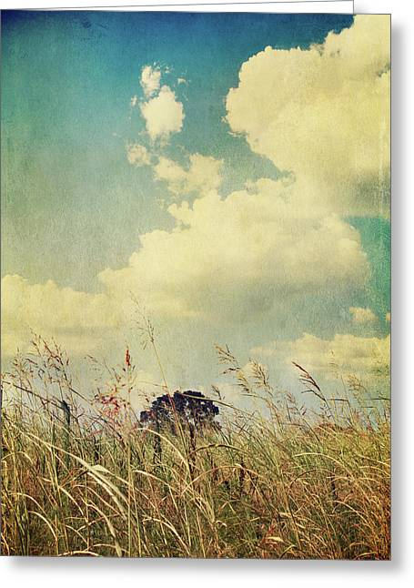 Field. Cloud Digital Art Greeting Cards - And The Livins Easy Greeting Card by Laurie Search