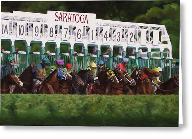 Horse Racing Paintings Greeting Cards - And Theyre Off Greeting Card by Linda Tenukas