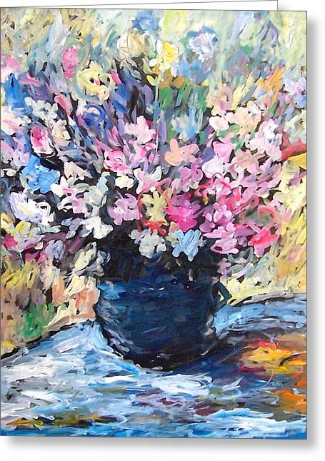 Flower Still Life Glass Art Greeting Cards - And To Claude Greeting Card by Mykul Anjelo