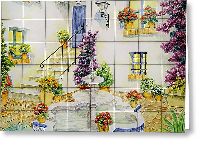 Landscapes Ceramics Greeting Cards - Andalusian patio Greeting Card by Jose Angulo