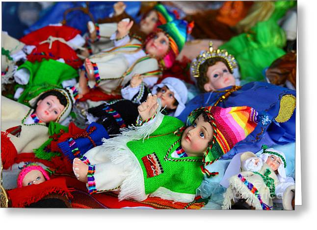 Child Jesus Greeting Cards - Andean Baby Jesus Figures Greeting Card by James Brunker