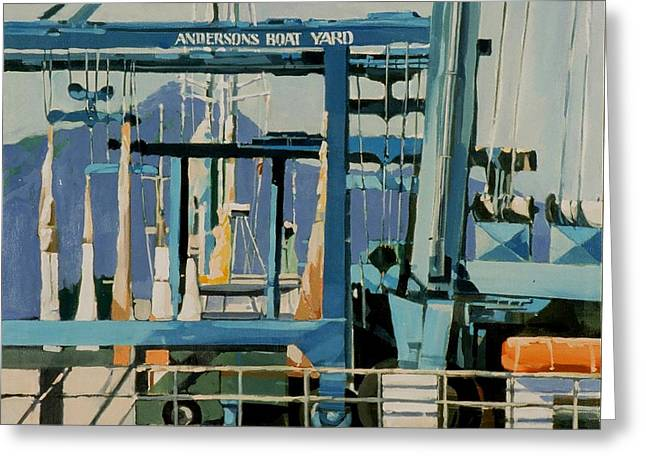 Sausalito Paintings Greeting Cards - Anderson Boat Yard Greeting Card by Andrew Drozdowicz