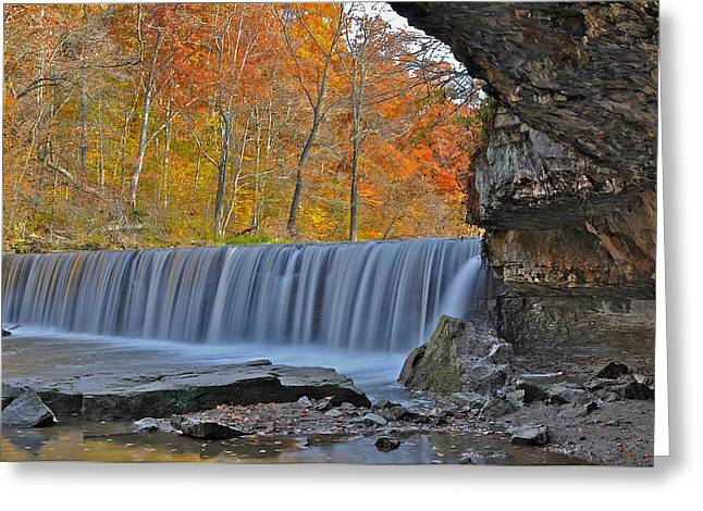 Indiana Autumn Greeting Cards - Anderson Falls Newbern Indiana Greeting Card by Marsha Williamson Mohr