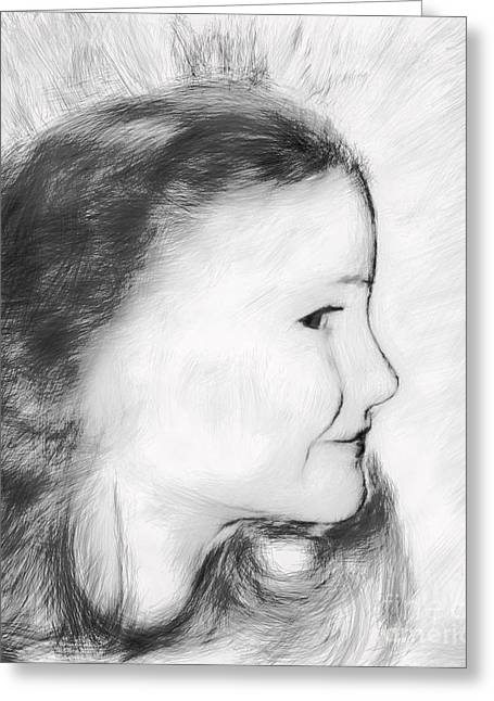 Girl Profile Greeting Cards - Andie Greeting Card by Arne Hansen