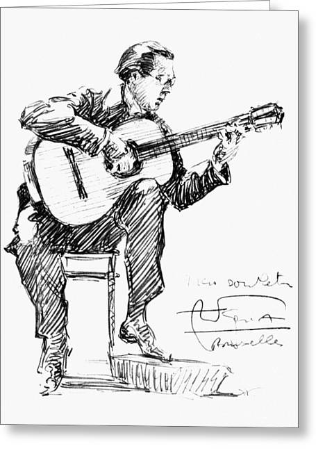 Autographed Drawings Greeting Cards - Andres Segovia Greeting Card by Granger