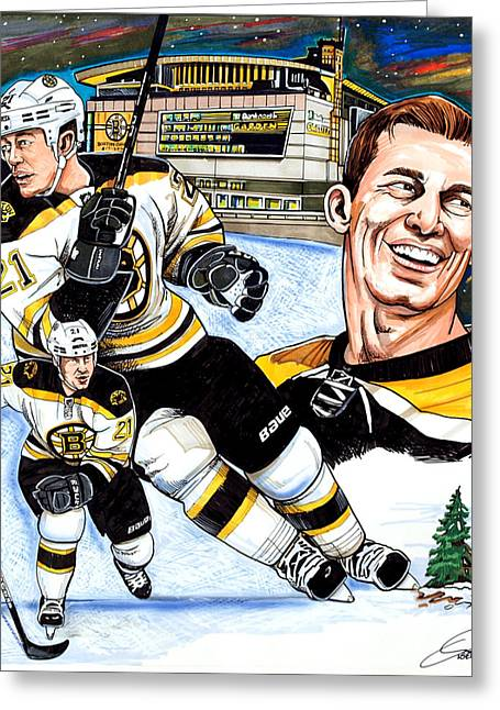 Nhl Hockey Drawings Greeting Cards - Andrew Ference Greeting Card by Dave Olsen
