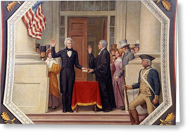 Inauguration Greeting Cards - Andrew Jackson at the First Capitol Inauguration - c 1829 Greeting Card by International  Images