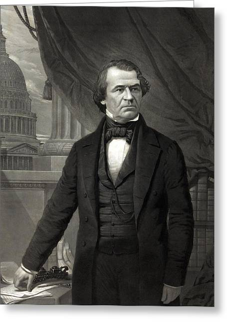American Politician Greeting Cards - Andrew Johnson - President of the United States of America Greeting Card by International  Images