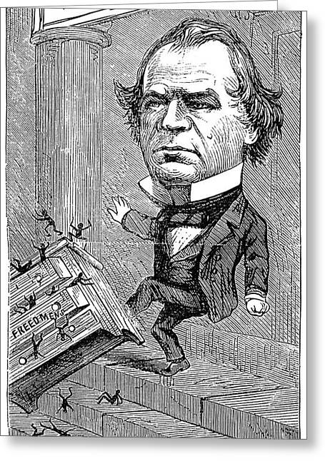 Nast Greeting Cards - Andrew Johnson Cartoon Greeting Card by Granger
