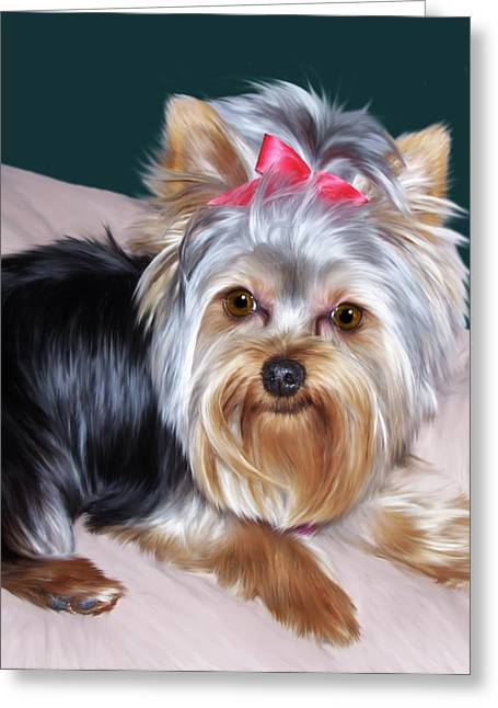 Puppies Digital Art Greeting Cards - Andromeda Greeting Card by Julie L Hoddinott