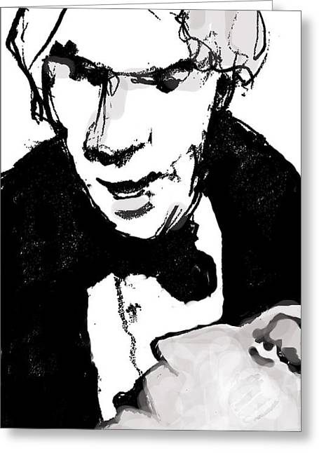 Tuxedo Mixed Media Greeting Cards - Andy at Studio 54 Greeting Card by AJ Williamson