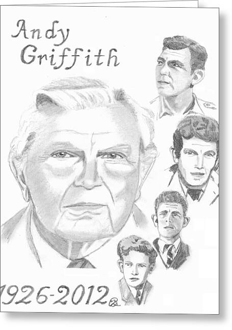 Best Sellers -  - Andy Griffith Show Greeting Cards - Andy Griffith Greeting Card by Gail Schmiedlin