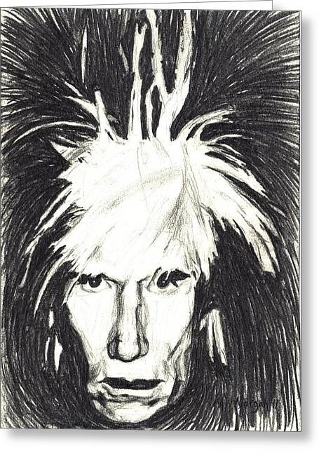 Basquiat Drawings Greeting Cards - Andy Warhol Greeting Card by Michael Morgan