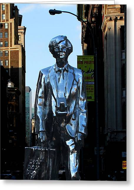 Union Square Photographs Greeting Cards - Andy Warhol New York Greeting Card by Andrew Fare
