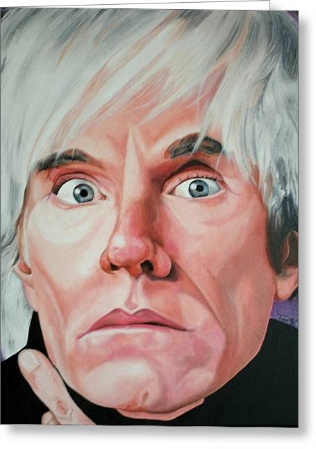 Portraits By Timothe Greeting Cards - Andy Warhol Greeting Card by Timothe Winstead
