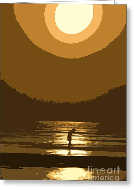 Girl In Water Greeting Cards - Andys Sunset Greeting Card by Jim  Calarese