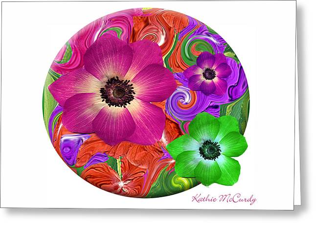 Anemone Craziness Greeting Card by Kathie McCurdy
