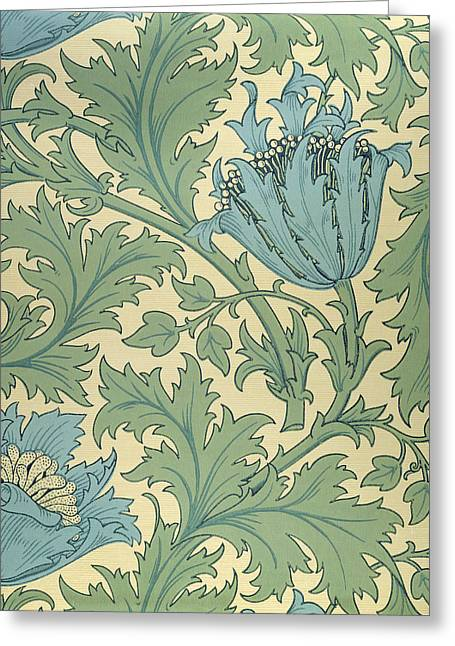 Wallpaper Tapestries Textiles Greeting Cards - Anemone design Greeting Card by William Morris