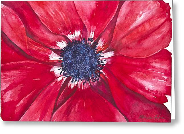 Patricia Mixed Media Greeting Cards - Anemone Greeting Card by Patricia Allingham Carlson