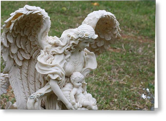 Angels Pyrography Greeting Cards - Angel and child Greeting Card by James Collier