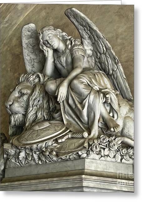 Gregory Dyer Greeting Cards - Angel and Lion Statue Greeting Card by Gregory Dyer