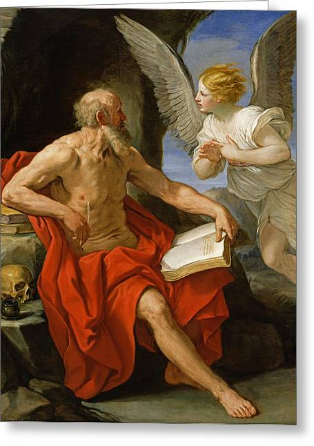 1640 Greeting Cards - Angel Appearing to St. Jerome Greeting Card by Guido Reni