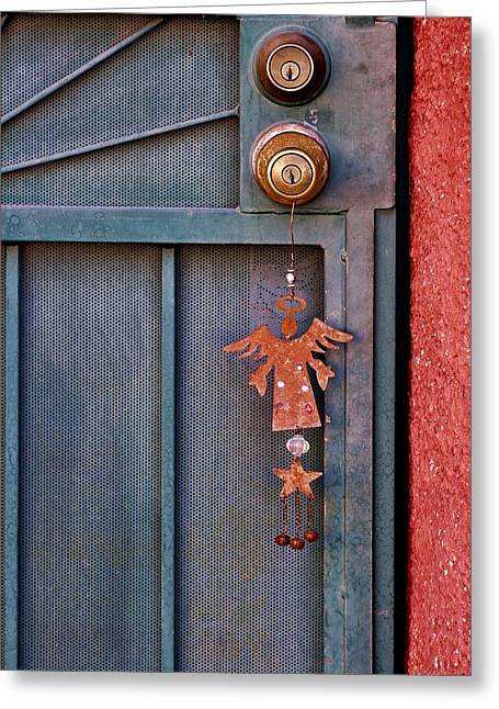 Angel Blues Greeting Cards - Angel at the Door Greeting Card by Carol Leigh